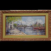 Signed Vintage Bridge Landscape Oil on Board in Gold Vintage Style Ornate Frame