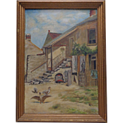 C.E. Learn Vintage Ducks in 2 Story Home Landscape Oil Painting on Canvas Panel