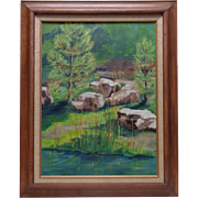 """Beautiful Estate Found C. Shattuck 1975 """"El Camino"""" Nature Scene Oil Painting"""
