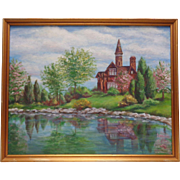 Stunning Vintage C. Shattuck Beautiful Cabin by Crystaline Pond Oil Painting