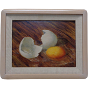 Irish McCalla Estate Found Vintage Cracked Egg Still Life Oil Painting on Board