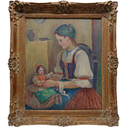 Estate Found Signed A. Gardas Vintage Oil Painting of Girl & Doll in Wood Frame