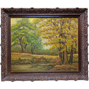 "Estate Found Inez Hinkle 1969 ""Autumn's Gold Mantle"" Oil Painting Canvas Panel"