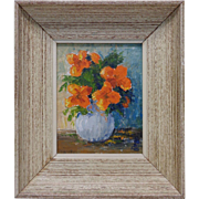 Betsy Shimmel (1914-2006) Estate Found 1958 Orange Flowers Oil Painting on Board