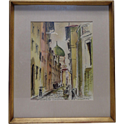 Italian Listed Artist Rodolfo Marma Vintage Firenze Via Farini Synagoga Drawing