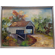 American Artist Fran Hines Estate Found Vintage Shack by Trail Oil Painting