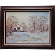 "Estate Found 1987 Allie Virginia Maxwell Leonard ""Peaceful Winter"" Oil Painting"