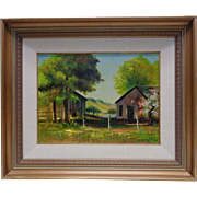 L. Hively Vintage Suit Home by Lake Oil Painting in Gold Vintage Wood Frame