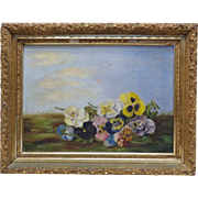 L. Smith Estate Found Late 1800's Gathered Flowers Oil Painting (Framed)