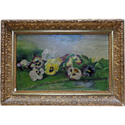 Estate Vintage Gathered Flowers Oil Painting on J. Marsching & Co. Academy Board