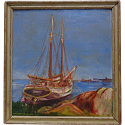 Charles Wilhite 1932 Estate Vintage Sailboat by Shore Oil Painting on Wood Panel