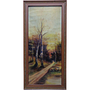 Signed Vintage Sunset Trail in Wilderness Landscape Oil Painting on Canvas