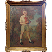 Vintage Boy w. Ball Portrait Oil Painting in Double Layer Vintage Wooden Frame
