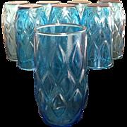Anchor Hocking Aqua Blue Drinking Glasses, set of 8