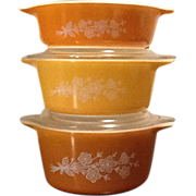 Pyrex Butterfly Gold Casserole Set