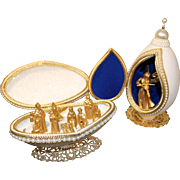 Unusual manger crafted in folk art goose eggs