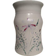Cream pottery vase with handpainted decoration