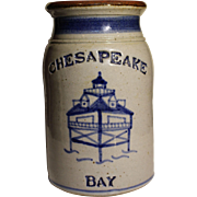 Traditional earthenware kitchen jar with nautical decoration