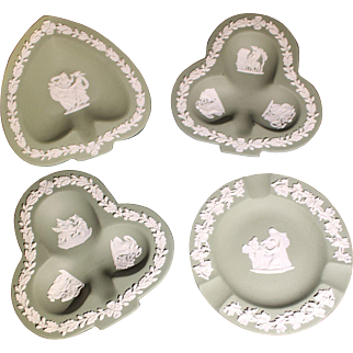 Wedgewood Jasperware: set of four ashtrays in spade, club and round shapes
