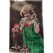 "French 1920's postcard with real picture of ""modern girl"" at the phone"