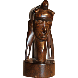 Wood carved African native head