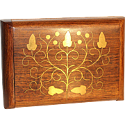 Sheesham wood handcrafted Indian box with brass inlaid