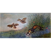 Antique 19th C. oil on canvas hunting painting of weasel and partridges