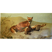 Antique 19th C. oil on canvas hunting painting of fox and a hare