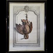 "19th C. Edouard Travies ""La bécasse"" hunting print with Napoleon III frame"