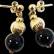 """Sweet 14K Yellow Gold Bead & Black Onyx Dangle Pierced 3/4"""" Earrings"""