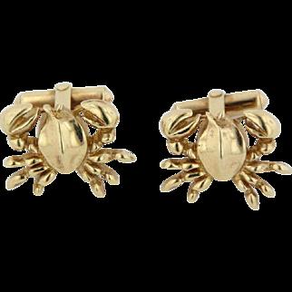"Men's 14K Yellow Gold Detailed Crab 3/4"" CuffLinks"