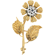 Two-Tone 14kt Yellow Gold Flower Brooch/Pin with Satin Finish