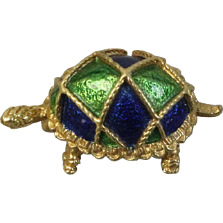 """Sweet 18k Yellow Gold Turtle 1"""" Pin with Blue & Green Enamel Shell"""