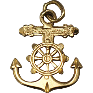 14kt Yellow Gold Anchor Charm with Boat Wheel Center