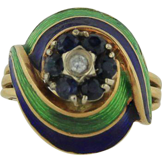 18kt Yellow Gold Diamond and Sapphire Blue/Green Enamel Ring - Size 6 1/4