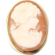 14kt Yellow Gold Orange Shell Cameo Pin/Pendant