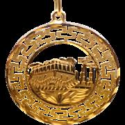Fancy Greek Key 14kt Yellow Gold Pendant - Parthenon Image