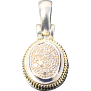 Two Toned Sterling/14kt Yellow Gold Oval Pendant with Clear Stones