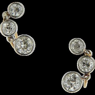 14kt Two-Tone White/Yellow Gold 4ct Diamond Screw Back Earrings