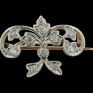 14kt Gold Two Tone Fleur De Lis Pin with .5CTW Diamonds