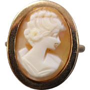 9ct Vintage European Carved Bezeled Orange Carnelian Cameo in Yellow Gold