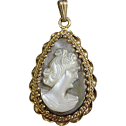 14k Yellow Gold Teardrop Pear Shaped Mother of Pearl Cameo Pendant with Twisted Setting