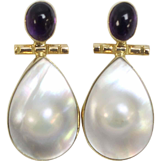 "Elegant 14K Yellow Gold - Sterling Silver - Mabe Pearl - Cabochon Amethyst 1"" Pierced Earrings"