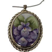 SamMartino Sterling Silver Pendant With Painted Flower Center