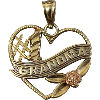 10k Yellow/Rose Gold Heart Shaped #1 Grandma Pendant Charm with Rose
