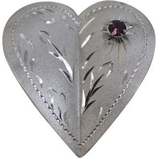 "1950's Sterling Silver Etched Heart 1 1/2"" Pin with Amethyst Stone - RINK Hallmark"