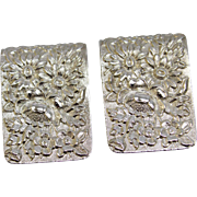 2 Vintage S Kirk & Son Sterling Silver Repousse Napkin Clips with Etched/Script Names - Marked 17F