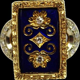 Vintage Diamond (.26tcw) & Blue Enamel 18K Yellow/White Gold Ring in Size 3.75 - Includes Appraisal