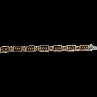 Vintage Diamond (.98tcw) & Blue Enamel 18K Yellow/White Gold Rectangular Panel Bracelet - Includes Appraisal