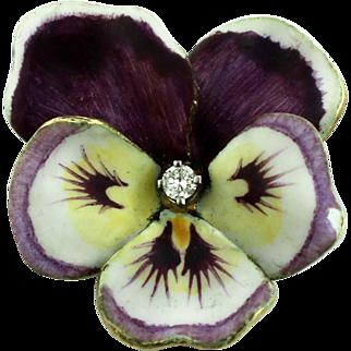 Vintage 14K Yellow Gold Enamel Handpainted Purple Pansy .1ct Diamond Flower Pin